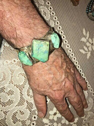 Vtg Turquoise Silver Cuff Bracelet Large Stones Unmarked 2 3/4 Oz