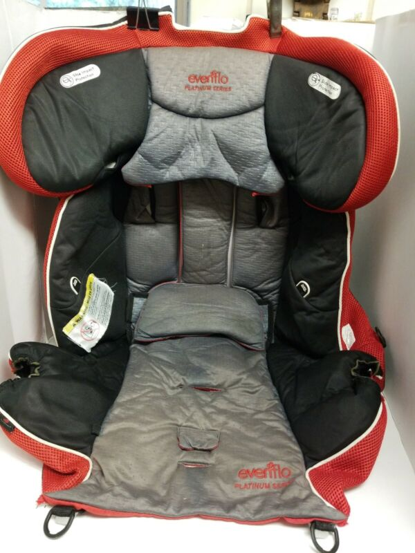Evenflo Triumph Booster Car Seat Fabric Cover Cushion Replacement  Gray & Red.