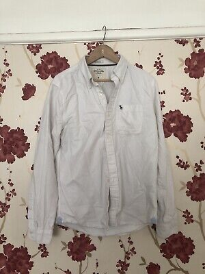 Mens Abercrombie And Fitch Button Up Long Sleeve Shirt White Medium