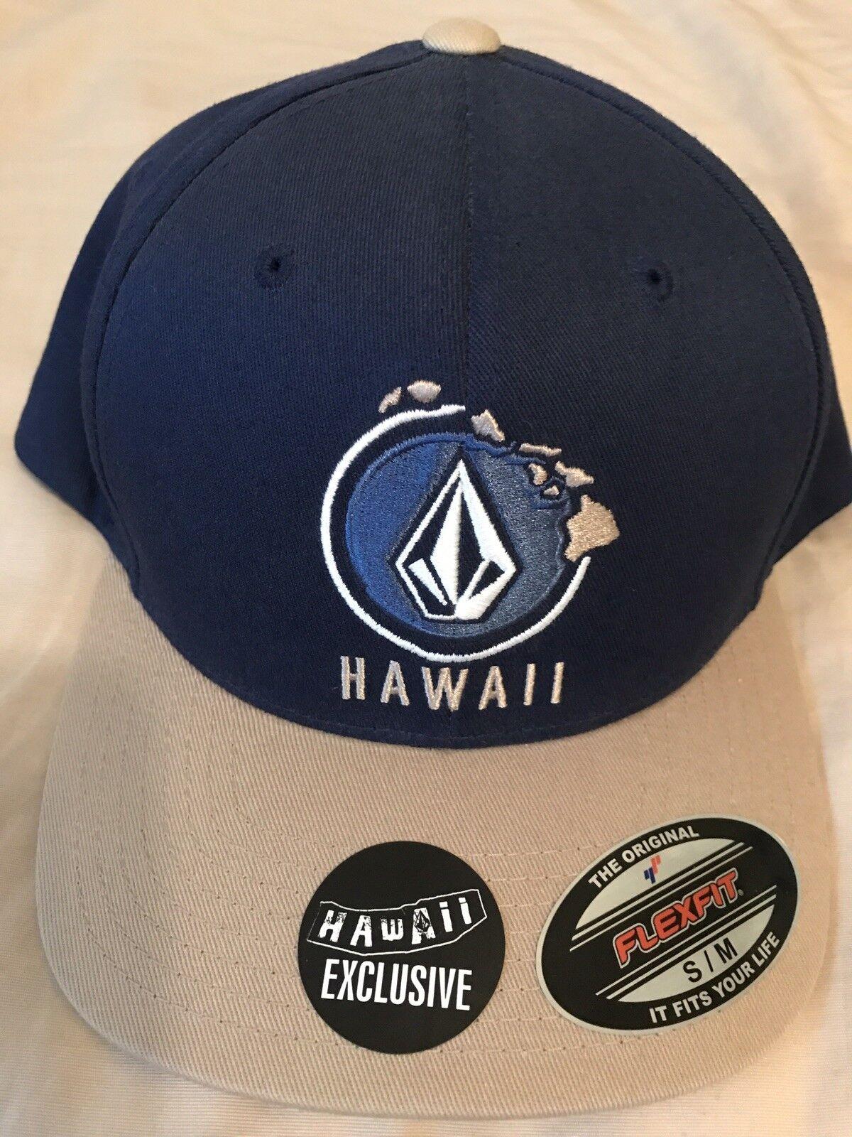 Men's NWT VOLCOM HAWAII Exclusive Blue and Tan FLEXFIT HAT F