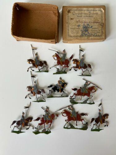 (10) Antique Heinrichsen Flat Tin Figures on Horses