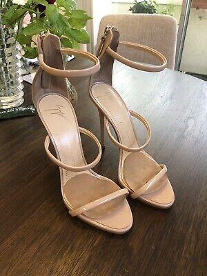 Giuseppe Zanotti Design Sz 38.5 Harmony Nude Patent Leather Sandals Heels