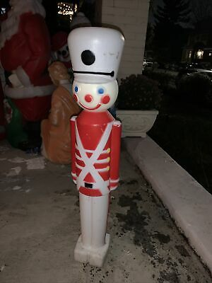 """Vintage Toy Soldier Nutcracker Blow Molds 30"""" Tall Christmas White Hats"""