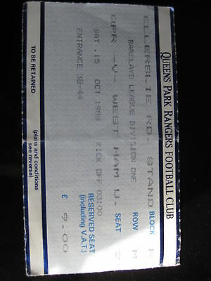 QPR V WEST HAM UNITED 15/10/1988  USED TICKET STUB