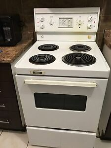 """White coil 30"""" electric stove with range hood"""