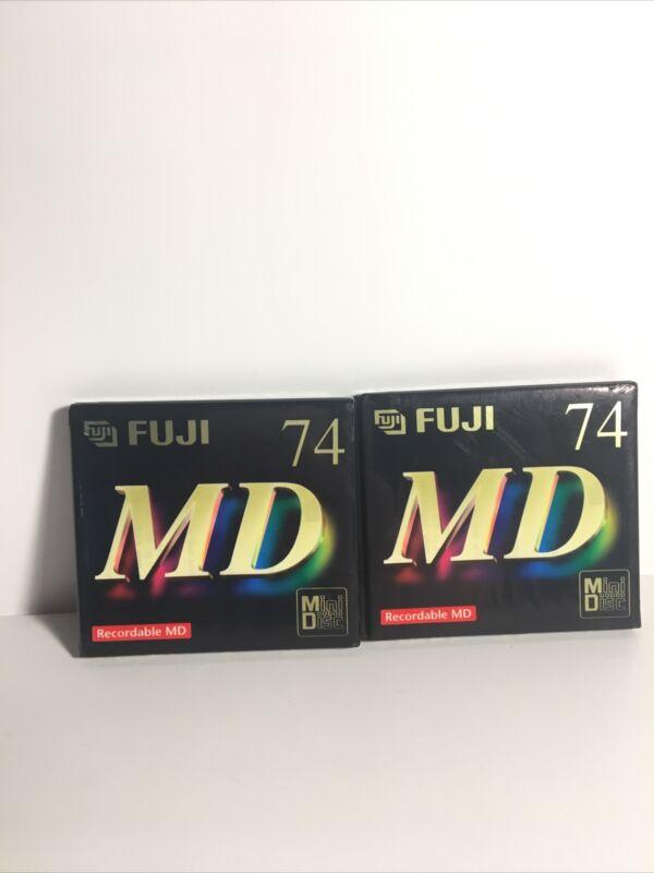 Fuji 74 MD Sealed Recordable MD Mini Disc Lot of 2
