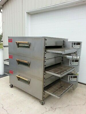 Edge 60 Series Triple Stack Gas Fired Conveyor Pizza Ovens 32 Belt Width