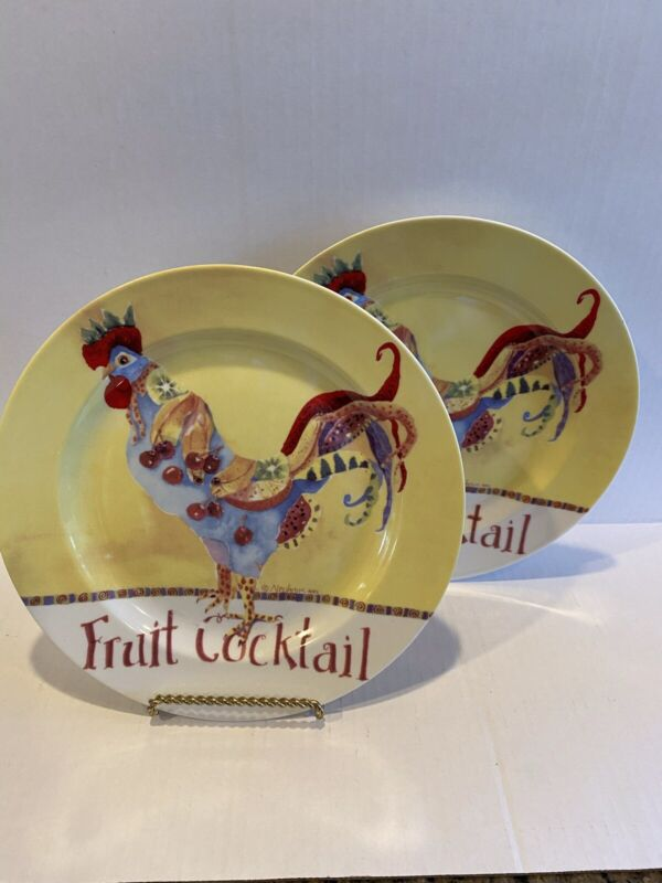 poultry in motion fruit cocktail plates 2- Sharon Newhouse Designs 9 in diameter