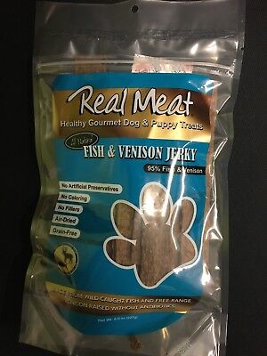 The Real Meat Company Dog Jerky Treat  95% wild cought Fish & Venison 8oz