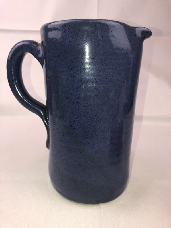 "Vintage 9"" BYBEE Pottery Blue Speckled Tankard Shape Unusual PITCHER  signed BB"