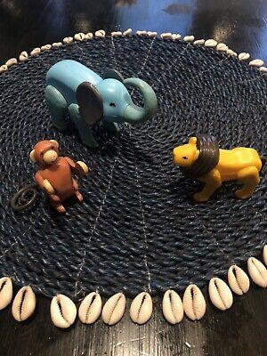 Vintage Fisher-Price Little People Circus Train Animals Monkey Lion Elephant 991