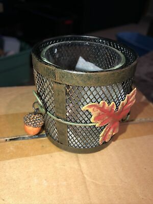 Yankee Candle Acorn Fall Leaf Metal Votive Candle Holder Autumn Decor Set/4