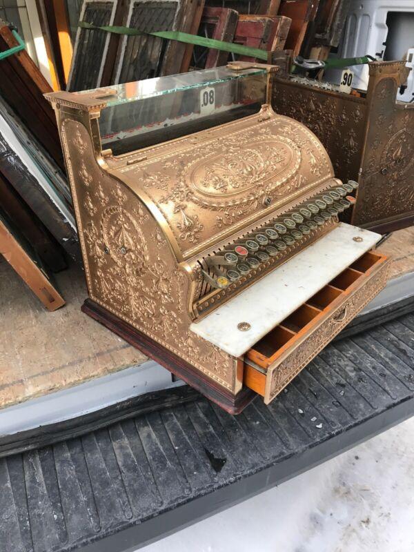 Antique National Brass Cash Register 20 X 16.5 X 17 H