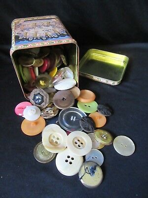 Metal Tin with Over 1/2 Pound of Vtg Larger Sized Buttons Mixed Lot Arts Crafts