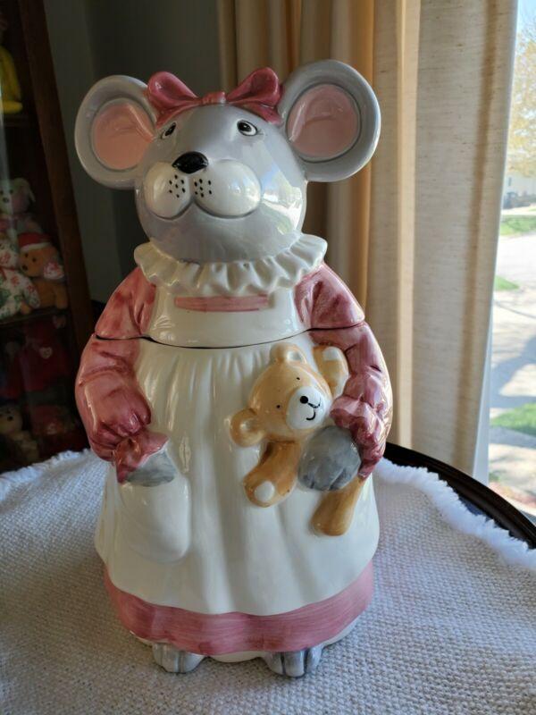 Vintage Ceramic Cookie Jar Mouse Holding Teddy Bear