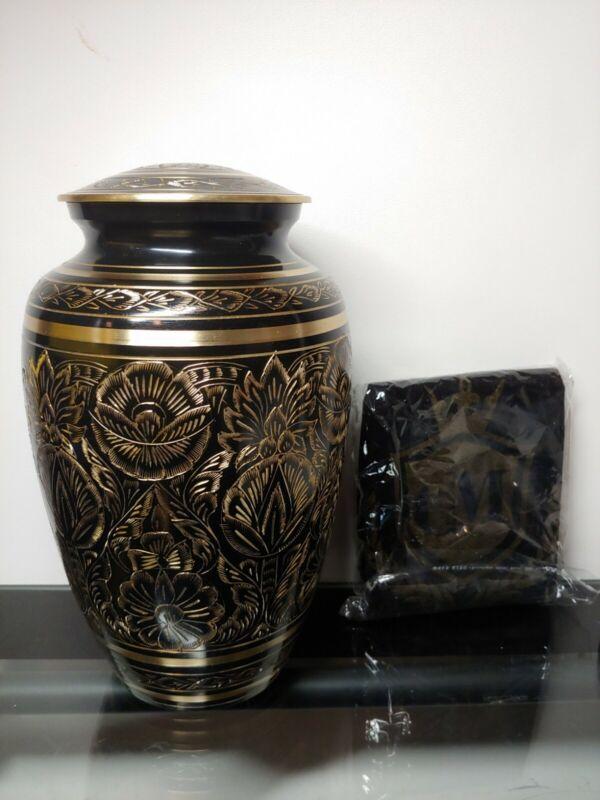 VERYCOZY Majestic Radiance - Black & Gold Brass Metal Adult Cremation Urn