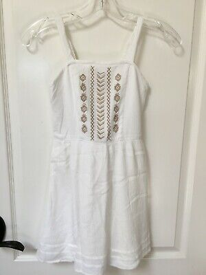 Abercrombie Kids Girls Size 9 10 White Embroidered Lined Sundress