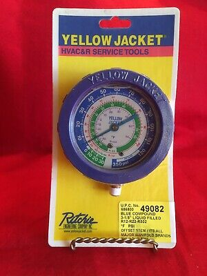 New Yellow Jacket 3-18 Blue Compound Liquid Filled Hvac Refrigeration Gauge