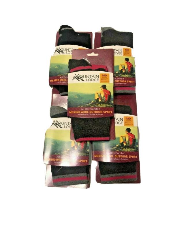 3 Pairs of Ladies 82%Merino Mountain Lodge  Hiker Socks 4-10