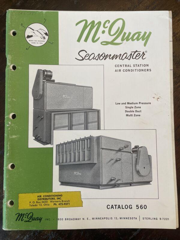 1963 McQuay Seasonmaster Central Station Air Conditioners Minneapolis MN Catalog