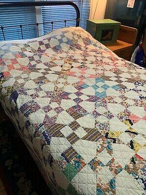 """Vintage Handmade Quilt Evening Star Pattern 8 stitches Inch 78 x 89"""""""