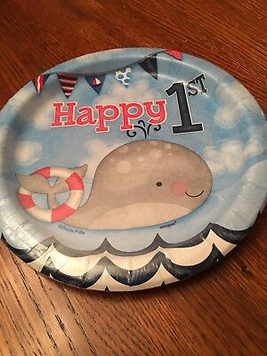 1st BIRTHDAY NAUTICAL SMALL PAPER PLATES (8) ~ First Party Supplies Cake Dessert - Nautical Birthday Party Supplies