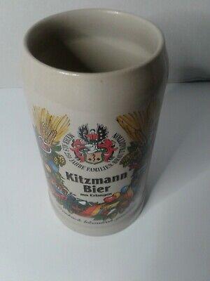 1 Liter Kitzmann Bier aus Erlangen Stoneware Beer Stein Mug Made in Germany
