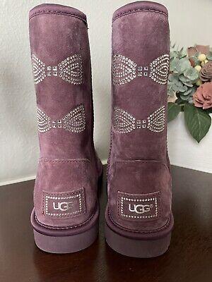 UGG Australia Women's Swarovski Crystal Bow Purple Boots Size 9 New