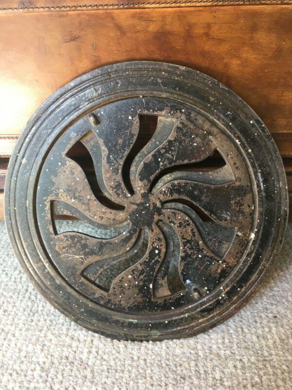 """ANTIQUE HEAT VENT round cast iron opens and closes 9 7/8"""" diameter"""