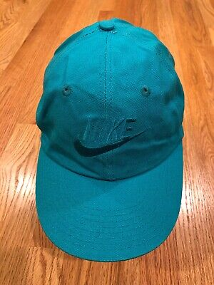 80s Vtg Nike Futura Logo Hat cap 90s Aqua Blue Spell Out Stretch Fitted Vintage