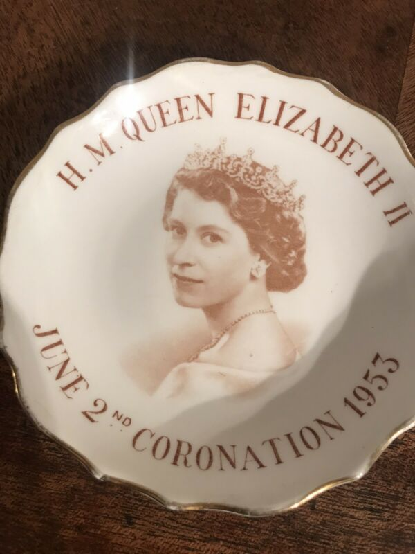 Vintage H M Queen Elizabeth Coronation 1953 Plate Tuscan Fine English Bone China