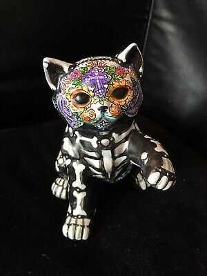 Colors Of Day Of The Dead (Day Of The Dead Cat Kitty Figurine Statue Sugar Skull Art  Colorful)