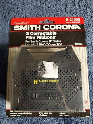 Smith Corona Typewriter 2 Black Correctable Film Ribbons H21000 H63446 Nib 2pk