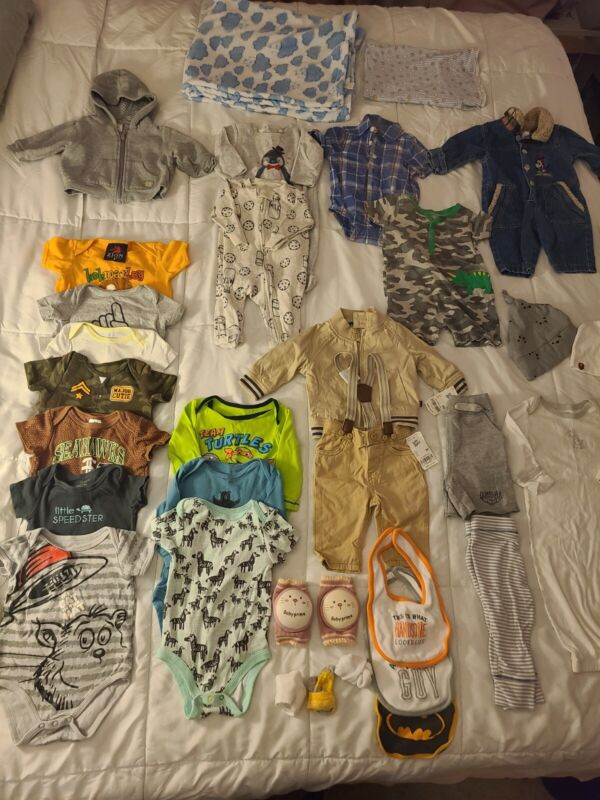 33 Piece 3-6 Months Baby Boy Clothes Lot! Euc! 3 M Outfit One Pieces Hoodie Pjs!