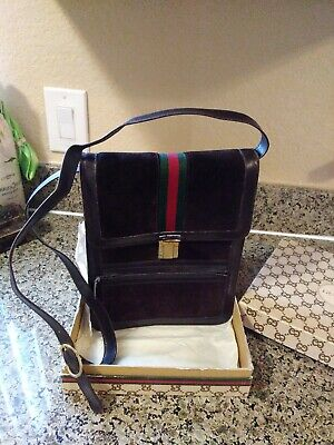 Vintage Gucci suede shoulder bag purse accessory collection FIRENZE new in box