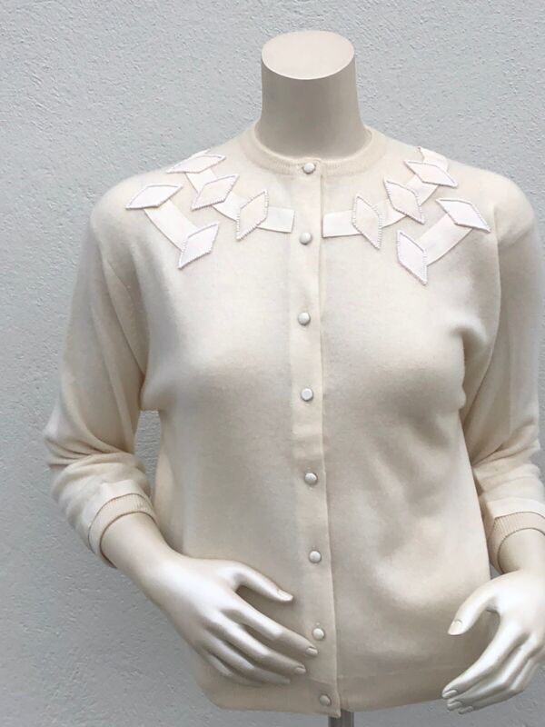 Edith Salzman Cream Cashmere and Beaded sweater .
