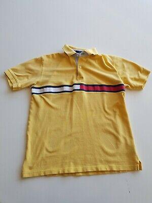Vintage 90s Tommy Hilfiger Polo Shirt Yellow Striped Logo Men M Medium Retro