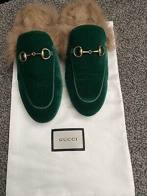 Gucci Princetown Green Velvet Loafers With Fur Size Uk 4 Eu 37 Rare.