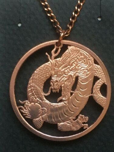 Chinese Dragon Cut Coin Pendant Copper