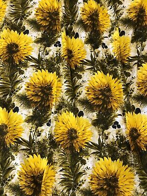 Vintage Retro Flower Power Marigold Yellow Curtains 1950's 1960's
