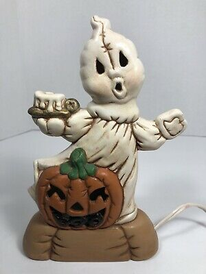 """Vintage Nowells Molds 1988 Halloween Lighted Ghost with Boo Pumpkin 8"""" Ceramic"""