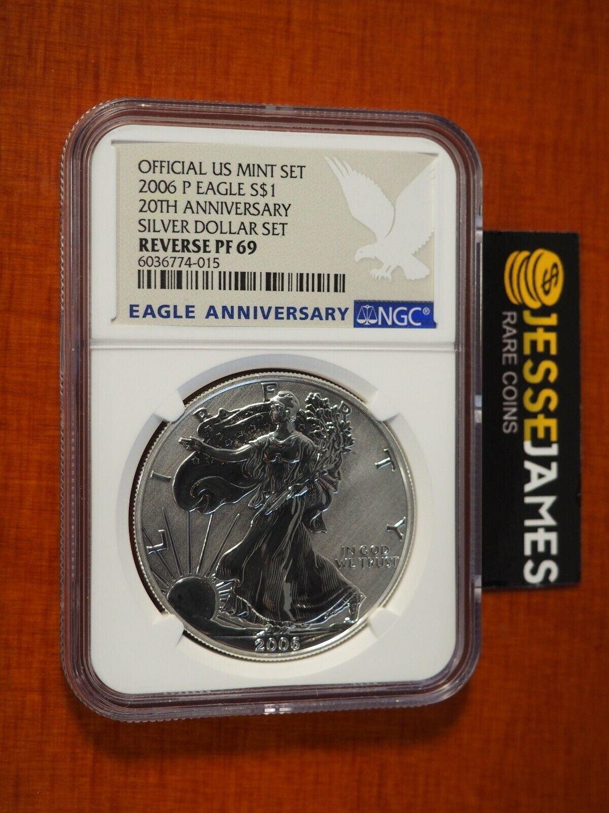 2006 P REVERSE PROOF SILVER EAGLE NGC PF69 FROM 20TH ANNIVERSARY SET BLUE LABEL - $119.00