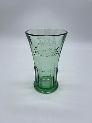Coca Cola Glass Green Libby Flared Tumbler 16oz Drinking Glass 1 Pc Vintage EUC