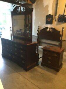 Solid wood queen or double bed set