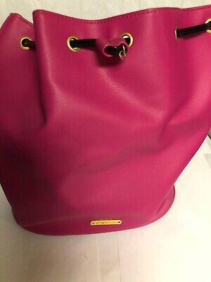 Preowned Juicy Couture Hot Pink and Black Backpack Purse Handbag. Drawstring Hot Pink Drawstring Purse
