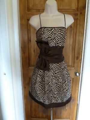 Lovely brown+cream bow detail  evening dress from Jessica McClintock size 8