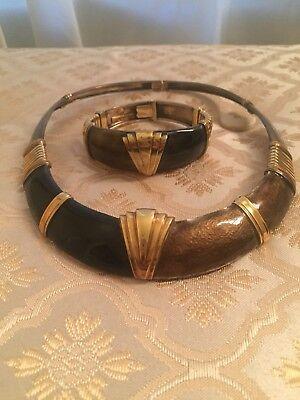 Authentic LA Nouvelle Bague Gold/Silver/Enamel~ Estate Necklace & Bracelet Set for sale  Buffalo