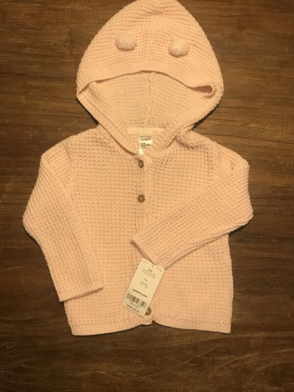 Carter's Infant Baby Girl Knit Pink Sweater Cardigan NWT 12 Months