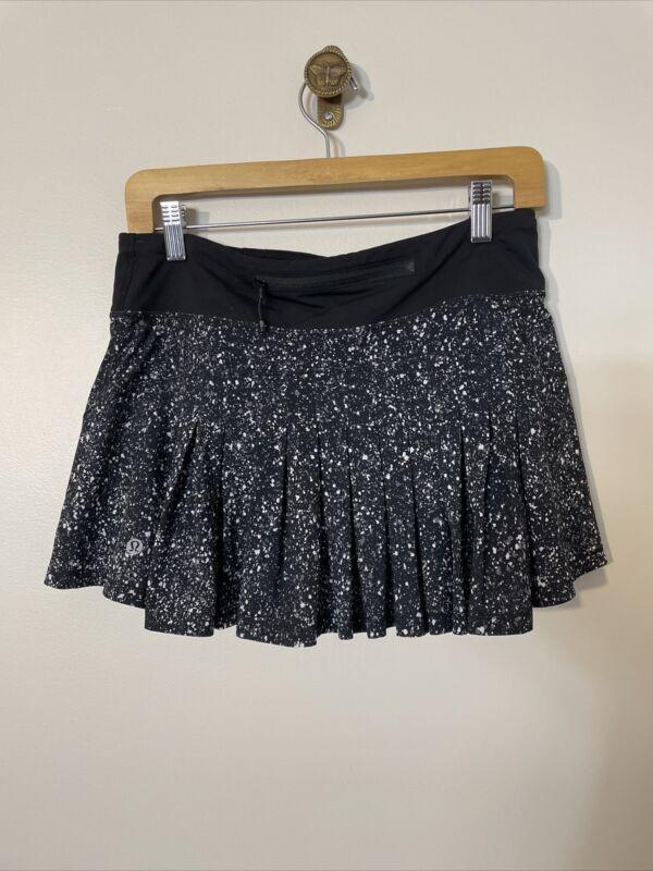 Lululemon Run: Skirt Size 6 Black White Print Shorts Pocket