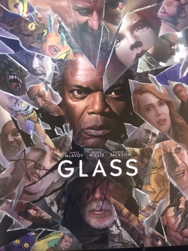 James McAvoy/Anya Taylor Joy/M. Night Shyamalan Signed Glass 14x11 Photo AFTAL